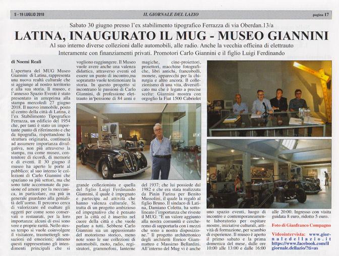 Latina, inaugurato il MUG-Museo Giannini