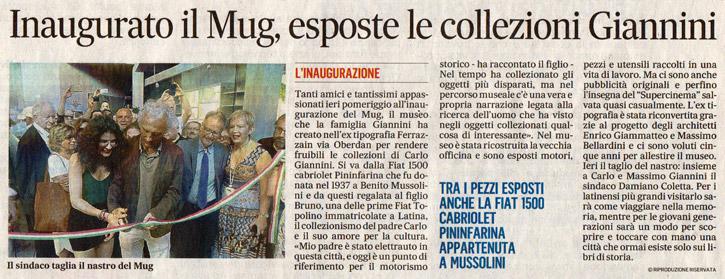 Inaugurato il Mug, esposte le collezioni Giannini